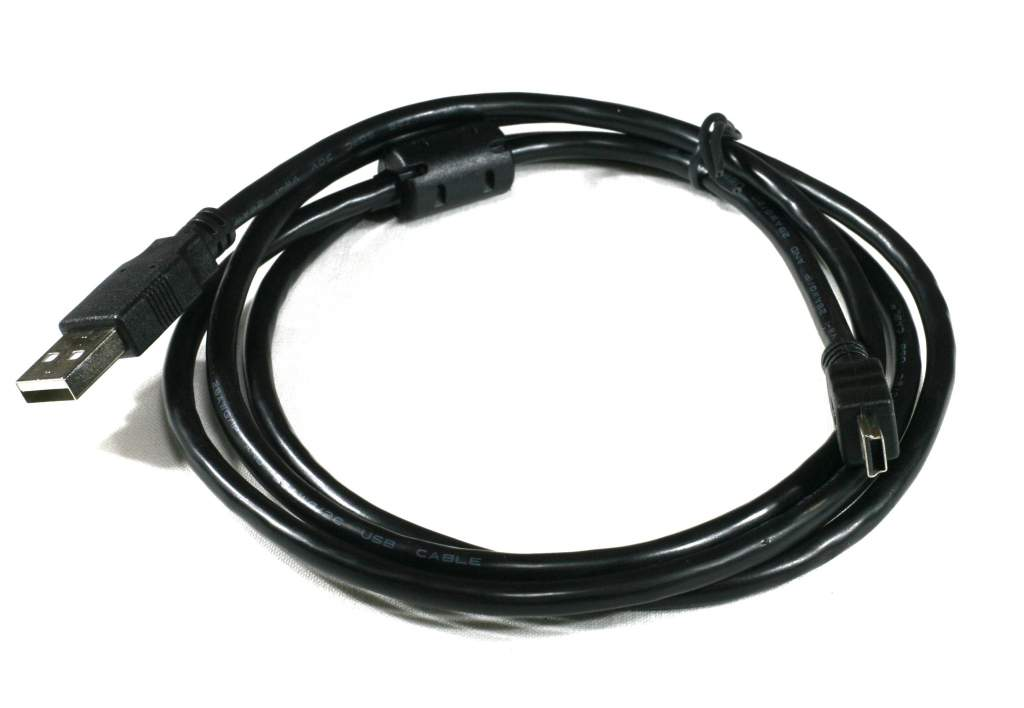 USB Mini-B Cable Black 6ft with Ferrite