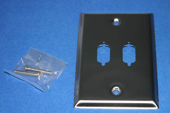 VGA WALL PLATE DB9 or HD15 2-HOLE STAINLESS