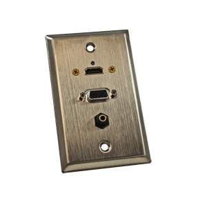VGA WALL PLATE HDMI-HD15-3.5MM STAINLESS
